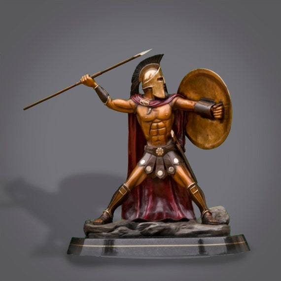 """BRONZE SPARTAN  King Leonidas """"Prepare For Glory"""" Sculpture by Barry Stein from the movie """"300"""""""