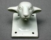 Vintage White Ceramic Lambs Head Decoration