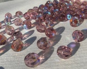30 pcs 7 mm Czech Fire-polished Round Faceted Amethyst Beads with AB Coating