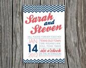 Custom, Printable Wedding Invitation & Response Card- BLOCKY CHEVRON