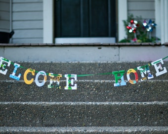 Welcome Home -- Board Book Garland - Handmade - Made in the USA - Personalized - Celebration - Wedding - Baby Name