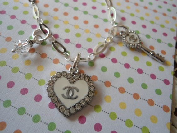 """Sterling Silver designer CoCo charm 7"""" Bracelet double C free shipping"""