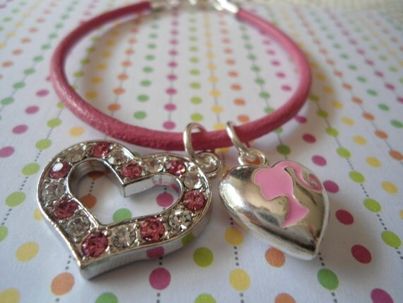 BARBIE ponytail charm pink leather child Bracelet heart charm and free ship