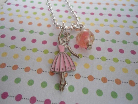 BALLERINA ballet tutu charm Child Necklace dance Recital free shipping