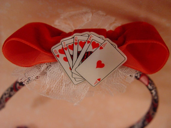 SALE Alice In Wonderland Black And Red Queen Of Hearts Insrpired Bow Headband
