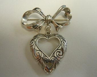 Sterling Silver Filagree Heart With Bow Top Brooch
