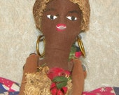 Folk Art Cloth Doll Hand Made Ethnic Garden Mojo Island Doll African Theme Doll c1940's