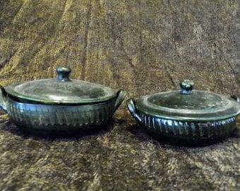 Casserole Dish Pair with Lids Gorgeous Dark Avocado Green Bird & Flowersl Very Old