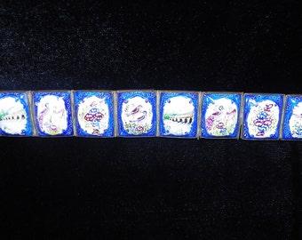 Enamel Panel Bracelet Vintage Persian Hand Painted