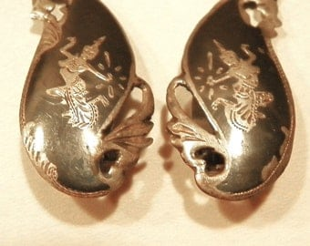 Nielloware Clip Earrings - Siam Silver featuring Mekkala