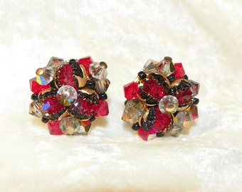 Earrings Swarovski Ruby Red & Clear Aurora Borealis Gold and Black Accents