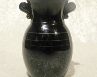 Black Glass Vase Opaque LE Smith Glass Co.