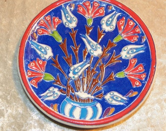 Turkish Hand Enameled Decorative Plate Very Vibrant Raised Design