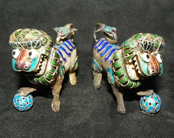 Foo Dogs Antique Chinese Cloisonne Gold Over Sterling Silver Filigree