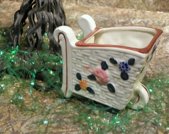 Hand Painted Nasco Japan Flower Cart Planter Figurine