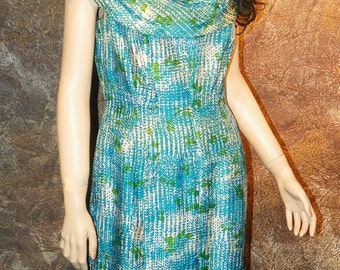 Silk Dress Jane Andre of California Turquoise Print