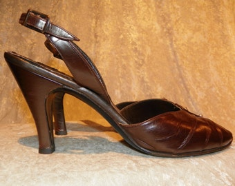 Shoes Slingback by Milano Originals Pearl Accent Luscious Brown Size 9N