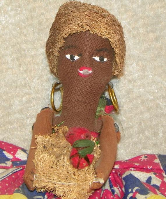 Folk Art Cloth Doll Hand Made Ethnic Garden Mojo Island Doll African Theme Doll c1940's