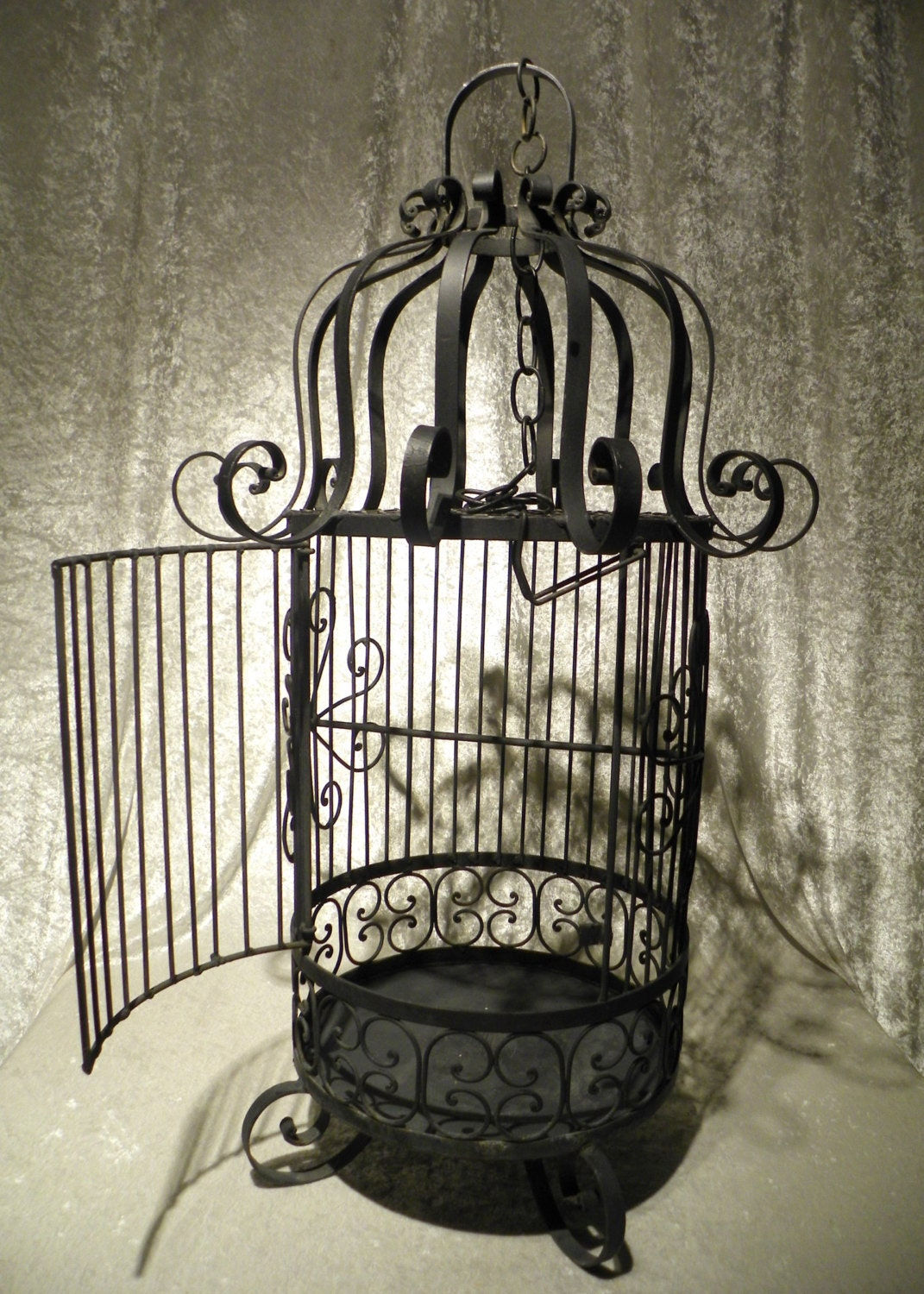Large Vintage Black Wrought Iron Bird Cage From Mexico