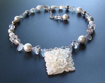 White flower beaded necklace handmade