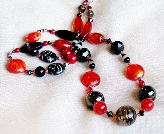 Black Red long bead necklace  'Bold and the Beautiful'