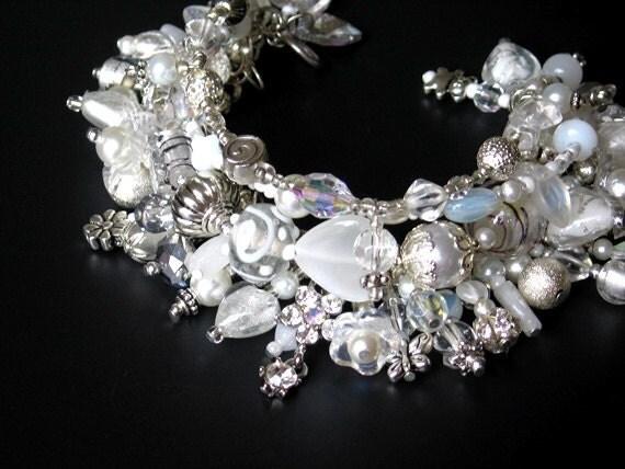 White crystal charm bracelet handmade