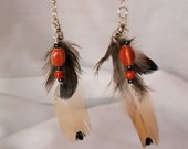 Feather Earrings with Orange Beads: Tan, Brown, Wirewrapped, Southwestern, Native American