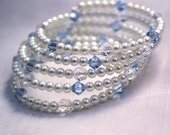 Beaded Bridal Bracelet: Pearl, Swarovski, Blue, Bride Bracelet, Something Blue
