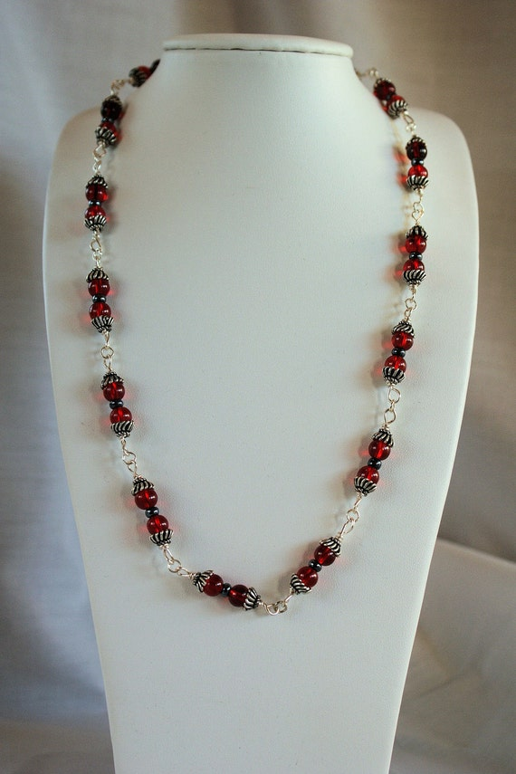 Antique Red Beaded Necklace: Handmade Jewelry, Draping, Beaded Links, Antique Silver Necklace
