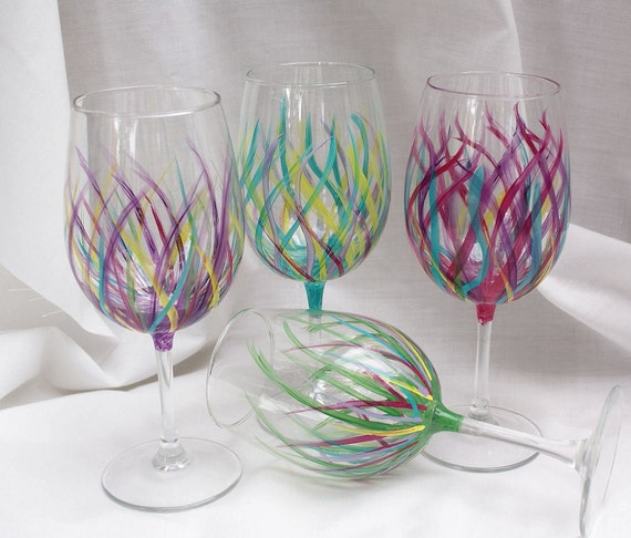 Items similar to affordable handpainted wine glasses for Acrylic paint on wine glasses