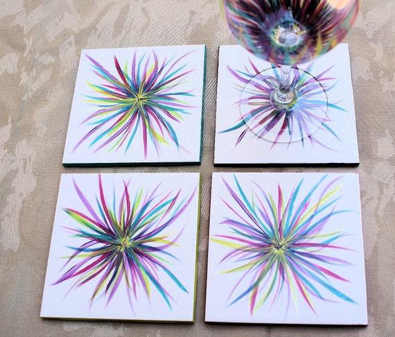 Colorful Ceramic Tile Drink Coasters: Handpainted, Bright, Flower, Unique