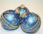 Blue Christmas Ornament, 3 ornaments, ornament blue glass, blue holiday ornaments, blue gold ornaments, blue ornaments,