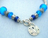 Return to the Sea Necklace, Lampwork Glass Bead Necklace, Blue, Sterling Silver .925