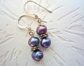 Sale, Pearl Earrings, Freshwater and Sterling Silver Star Spacers, Peacock Colored Pearls under 10