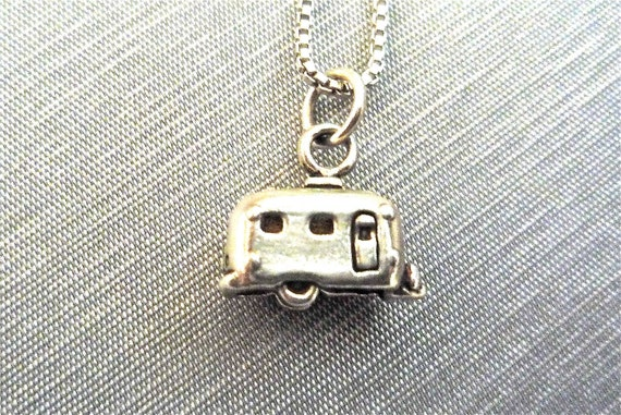 Travel Trailer Charm Necklace Sterling Silver .925  Transportation Jewelry