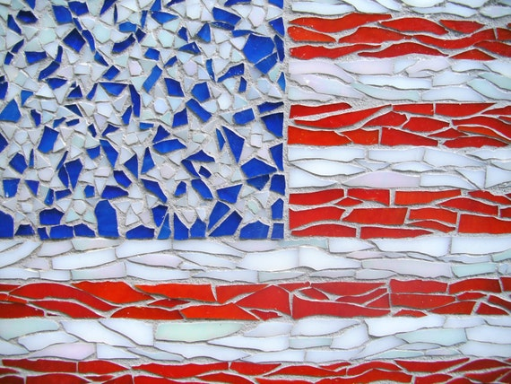 Mosaic American Flag Red White Blue Stars Stripes Glass