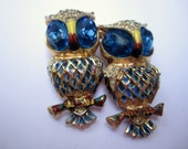 NEW YEAR Sale, Coro Owls Pin or Brooch, Duette, Vermeil Sterling Silver Brooch, Vintage Jewelry, Gift for Her Rare