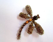 RESERVED FOR BARBARA 1960s Amber Rhinestone Dragonfly Brooch Vintage Jewellery