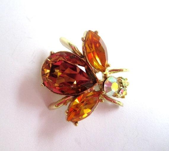 Amber Rhinestone Bee Brooch 1950s Vintage