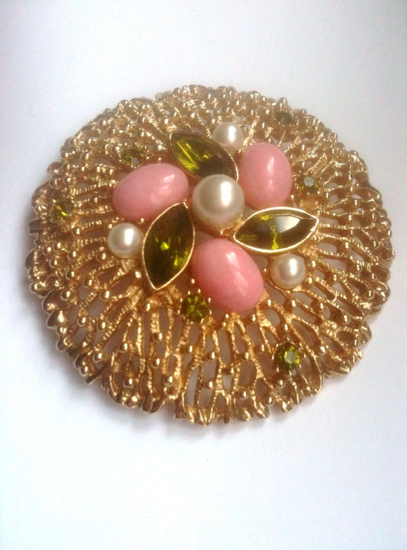 Sarah Coventry Brooch and Earrings 1960s Vintage Jewelry