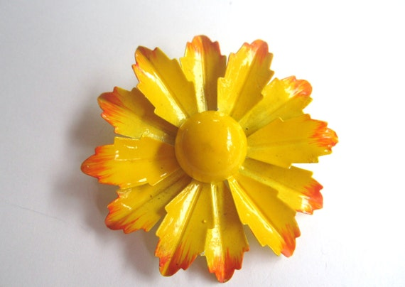Yellow Enamel Flower Brooch 1960s Vintage Jewelry
