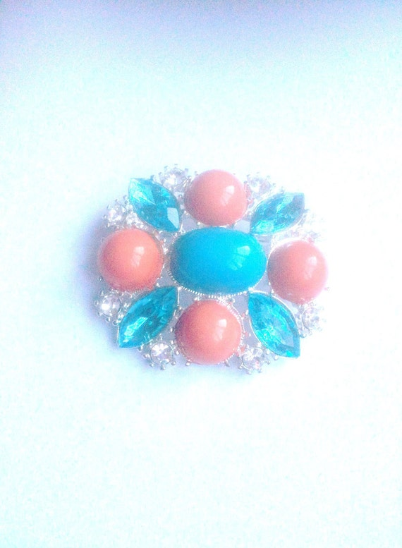 Orange and Blue Cabochon Rhinestone Brooch 1960s Vintage Jewelry