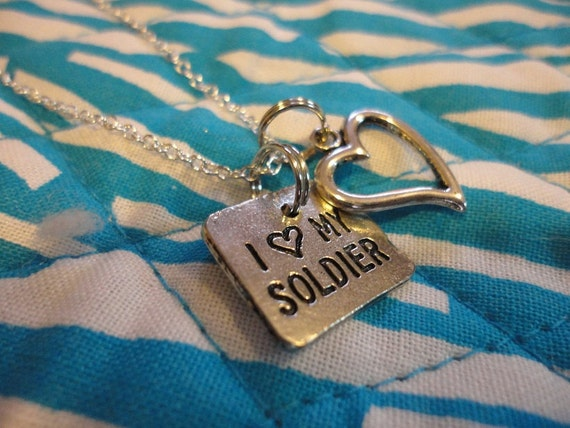 I Love My Soldier Charm Necklace