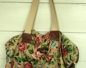 Vintage Tote Purse Oversized Floral Canvas