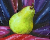 Small still life oil painting - Pear with Mexican Scarf