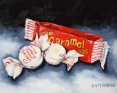 Original oil  painting of caramel log and peanut butter kisses