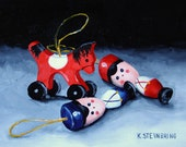 Original oil Christmas ornament painting of horse and soldiers
