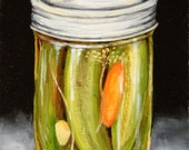 Oil painting of garlic pickles in glass mason jar