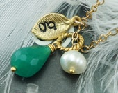 Birthstone & Initial Necklace, Emerald Necklace, Gold Fill, Pearl, Eternity Circle, Stamped Letter Necklace, Karma Necklace
