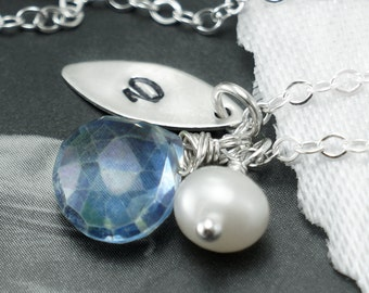 Personalized necklace, birthstone necklace, leaf charm, custom initial, leaf jewelry, bridesmaids gifts, sterling silver